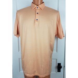 Peter Millar Mens Orange Striped Polo